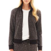 Liz Claiborne Zip-Front Tweed Knit Jacket