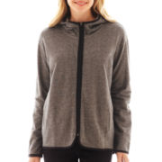 Liz Claiborne® Piped High-Low Knit Jacket
