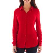 Liz Claiborne® Long-Sleeve Tunic Blouse