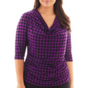 Worthington® 3/4-Sleeve Cowlneck Print Top - Plus