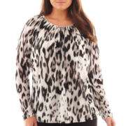 Worthington® Long-Sleeve Chiffon Mesh Top - Plus