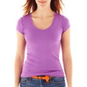 jcp™ Short-Sleeve Ribbed V-Neck Tee