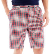St. John's Bay® Madras Plaid Flat-Front Shorts