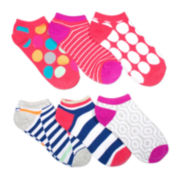 Mixit™ Womens 6-pk. Striped and Dot No-Show Socks