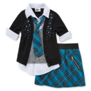 Knit Works Button-Front Top and Skort - Preschool Girls 4-6x