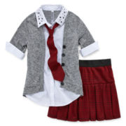 Knit Works Button-Front Tie Top and Skort - Girls 7-16