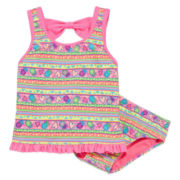 Breaking Waves 2-pc. Pineapple Tankini - Preschool Girls 4-6x