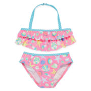 Breaking Waves 2-pc. Shell Swimsuit - Preschool Girls 4-6x