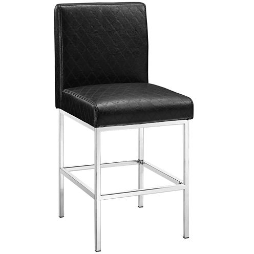 Blake Diamond-Quilted Faux-Leather Barstool