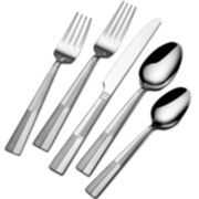 Pfaltzgraff® Everyday Arabesque Frost 45-pc. Flatware Set with Wire Storage Caddy