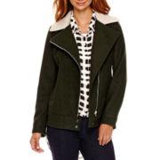 a.n.a® Asymmetrical Sherpa Collar Moto Jacket