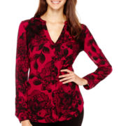 Worthington® Long-Sleeve Lace-Inset Blouse - Tall