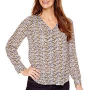 Liz Claiborne® Long-Sleeve Button-Front Print Blouse