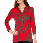 Liz Claiborne® 3/4-Sleeve Striped Knit Tunic
