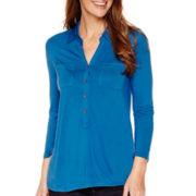 Liz Claiborne® 3/4-Sleeve Solid Knit Tunic