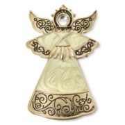 Antiqued Gold-Tone Christmas Angel Pin