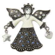 Antiqued Silver-Tone Christmas Angel Pin