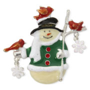Silver-Tone Snowman Holiday Pin