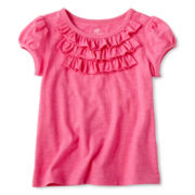 Okie Dokie® Short-Sleeve Ruffle Tee - Girls 2-6