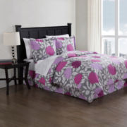 Purple Graphics Floral Complete Bedding Set with Sheets