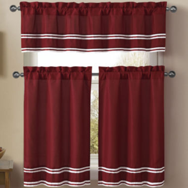 jcpenney.com | VCNY 3-pc. Microfiber Rod-Pocket Kitchen Curtain Set