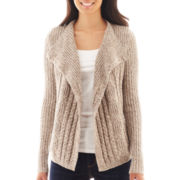 Liz Claiborne Long-Sleeve Ribbed Cardigan