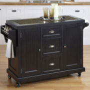 Atlantic Bay Drop-Leaf Rolling Kitchen Cart- Black
