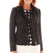 Liz Claiborne Zip-Front Tweed Jacket
