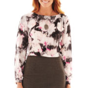 Liz Claiborne Long-Sleeve Draped-Shoulder Floral Blouse