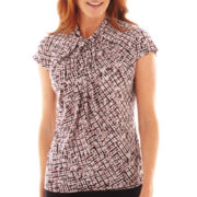 Liz Claiborne Short-Sleeve Knotted Drape-Neck Print Top