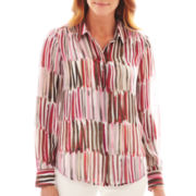 Liz Claiborne Long-Sleeve Brushstoke Print Blouse