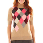 Liz Claiborne Elbow-Sleeve Argyle Sweater