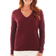 Liz Claiborne Long-Sleeve Button-Back Sweater
