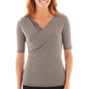 Liz Claiborne® Elbow-Sleeve Crossover Knit Top - Tall