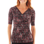 Liz Claiborne® Elbow-Sleeve Crossover Knit Top