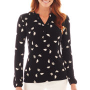 Liz Claiborne Long-Sleeve Print Top
