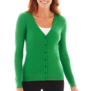 Liz Claiborne® Long-Sleeve Cable Cardigan Sweater
