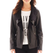 a.n.a® Drape-Front Faux-Leather Jacket