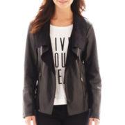 a.n.a® Drape-Front Faux-Leather Jacket