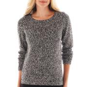 Liz Claiborne Long-Sleeve Marled Shoulder-Zip Sweater