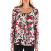 Liz Claiborne 3/4-Sleeve Rose Print Blouse with Cami