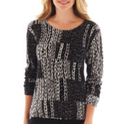 Liz Claiborne Long-Sleeve Chain Print Sweater