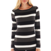 Liz Claiborne Long-Sleeve Striped Tee