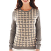 Liz Claiborne Long-Sleeve Neutral Diamond Sweater