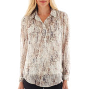 Liz Claiborne Long-Sleeve Neutral Fossil Blouse with Cami