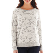 Liz Claiborne Long-Sleeve Lace-Trim Sweatshirt