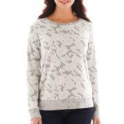 Liz Claiborne Long-Sleeve Lace-Trim Sweatshirt