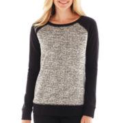 Liz Claiborne Long-Sleeve Metallic Tweed Sweatshirt