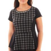 Worthington® Short-Sleeve Textured Peplum Top