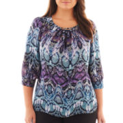 Worthington® 3/4-Sleeve Hardware Blouse - Plus